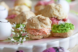 Small scones with different spreads for Easter