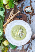 Apple soup with blue cheese and grissini