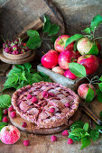 Lattice apple pie with raspberries