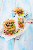 Nicoise bagels with vegetable salads