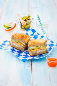 Cuban sandwiches with dill sauce and sweetcorn salad