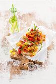 Focaccia with halloumi and tomato relish