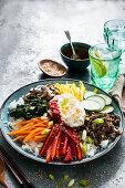 Bibimbab (rice with vegetables and beef, Korea)