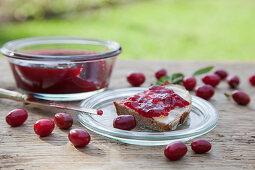 Homemade cornelian jam