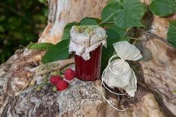 Raspberry jam with linden flowers
