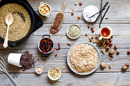 Various ingredients for homemade granola bars