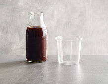 A winter punch drink with cherry juice and soft plums