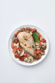 Oven roasted chicken breast with mushrooms and date tomatoes
