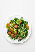 Vegetable salad with bean balls