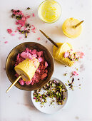 Saffron-parfait lollies with rosewater meringue