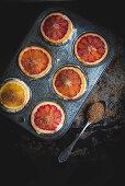 Blood Orange Upside Down Cupcakes (unbaked)