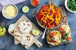 Vegetarian fajita with home made tortillas