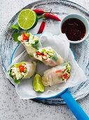 Rice paper tofu rolls