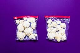 Cauliflower being frozen