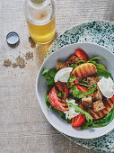 Burrata salad with grilled nectarines and croutons