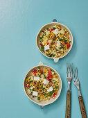 Colourful bulgur salad with feta cheese