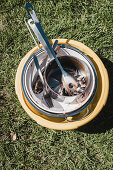 Camping utensils with leftover food