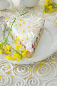 Rhubarb cake with sugared flowers