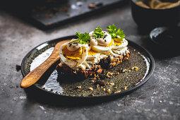 Egg salad on seeded bread