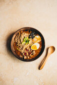 Ramen soup with minced meat, miso and egg