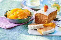 Carrot cake and orange salad