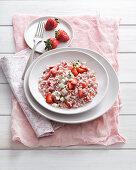 strawberry risotto with thyme and buffalo mozzarella