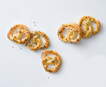 Pretzels with a cheese and mustard filling