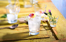 Gin Fizz with lavender and pink grapefruit