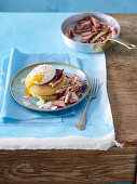 Fried semolina cakes with poached egg and a radicchio medley