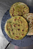 Indian spinach and cashew nut paratha