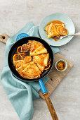 Crepe Suzette (pancakes with orange liqueur and orange juice sauce, France)
