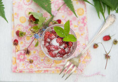 Wild strawberries with sugar