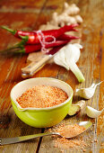 Homemade spice mixture with peperoni, garlic, salt and ginger