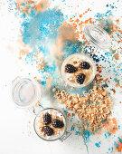 No bake cheesecake topview on watercolour background
