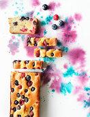 Ricotta cake topview on watercolour background