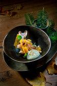 Natural cuisine: Norwegian lobster with pumpkin, Douglas fir oil and almond foam