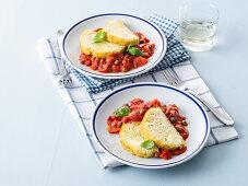 Mackerel and potato loaf with tomato sugo