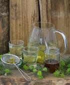 Spruce needle tea with spruce honey