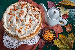 Sea buckthorn cake with meringue