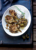 Artichokes with a chive and lemon dip