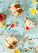 Slices of Vanilla Sponge Cake filled with jam and cream