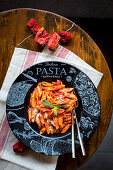 Penne pasta with a spicy tomato sauce