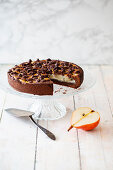 Chocolate crumble cake made with spelt flour and pears (vegan)