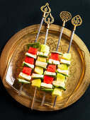 Melon skewers with feta cheese
