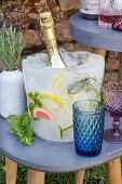 DIY champagne cooler on ice with frozen fruit and herbs