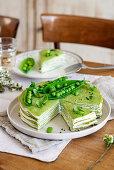 Pea pancake cake with cream cheese