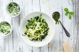 Low Carb Zoodles with Basil Pesto