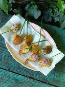 Deep-fried edible flowers