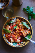 Pasta with tomatoe basil, Capers and Parmesan cheese