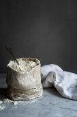 Flour in a linen sack